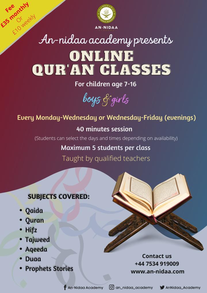 Online Qur'an class(weekday)